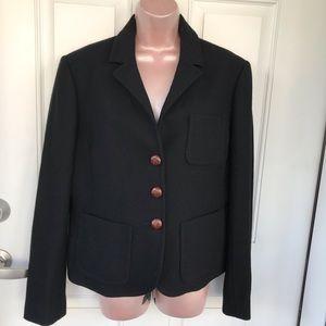 Very dark charcoal J Crew blazer leather buttons